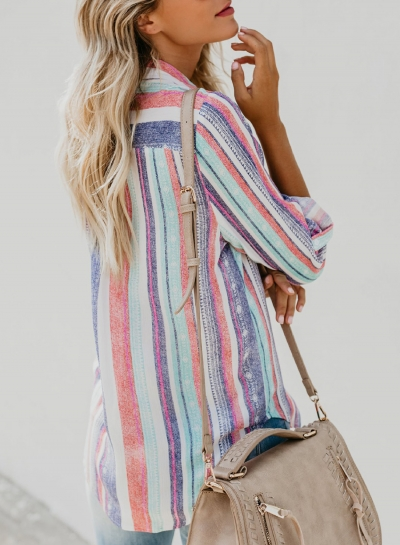 multi-casual-striped-turn-down-collar-long-sleeve-loose-button-down-shirt